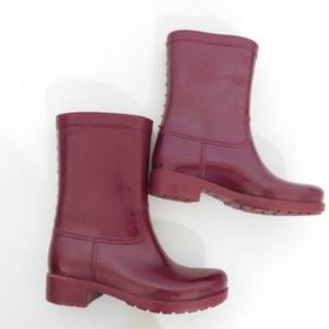 Aldo Rubber Ankle Rain Boots 7 8 Burgundy Red Gold